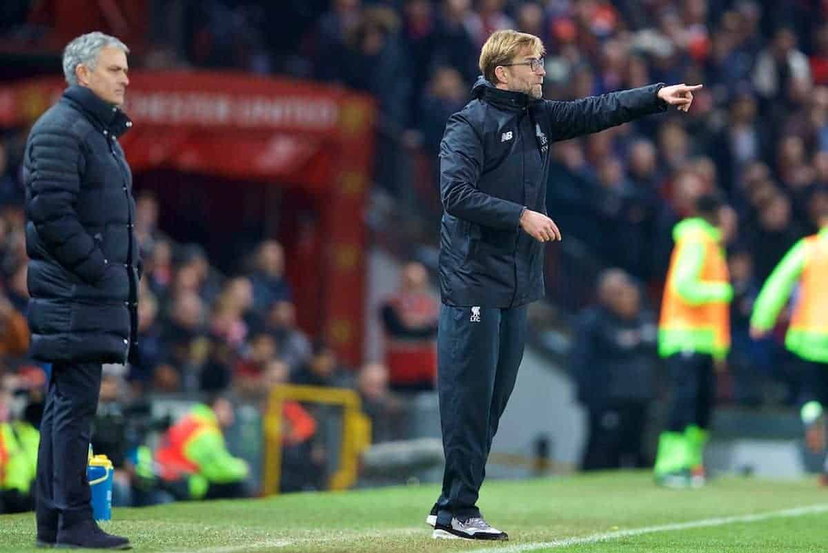 MANCHESTER, ENGLAND - Sunday, January 15, 2017: Liverpool's manager J¸rgen Klopp during the FA Premier League match against Manchester United at Old Trafford. (Pic by David Rawcliffe/Propaganda)