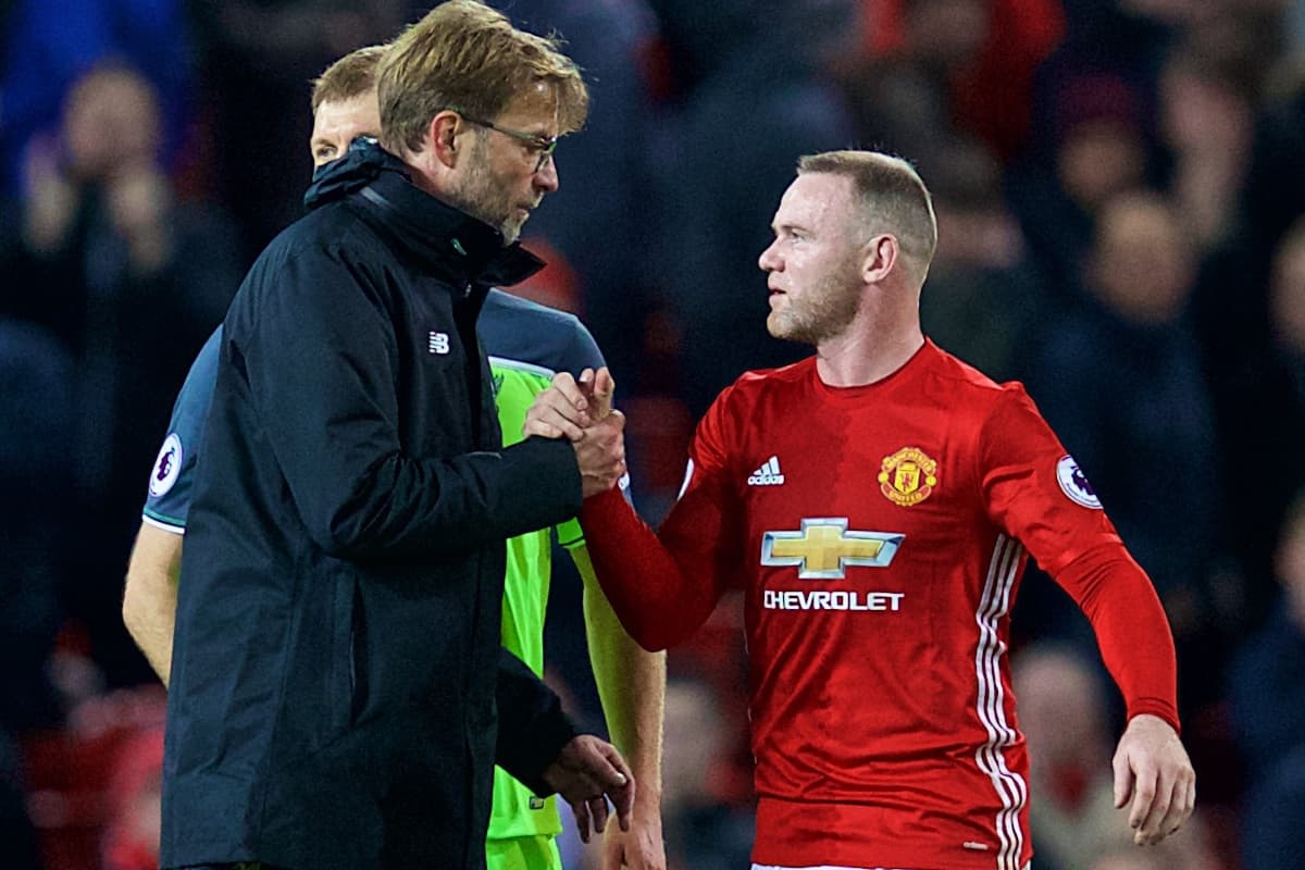 MANCHESTER, ENGLAND - Sunday, January 15, 2017: Liverpool's manager Jürgen Klopp' shakes hands with Manchester United's captain Wayne Rooney after the FA Premier League match at Old Trafford. (Pic by David Rawcliffe/Propaganda)