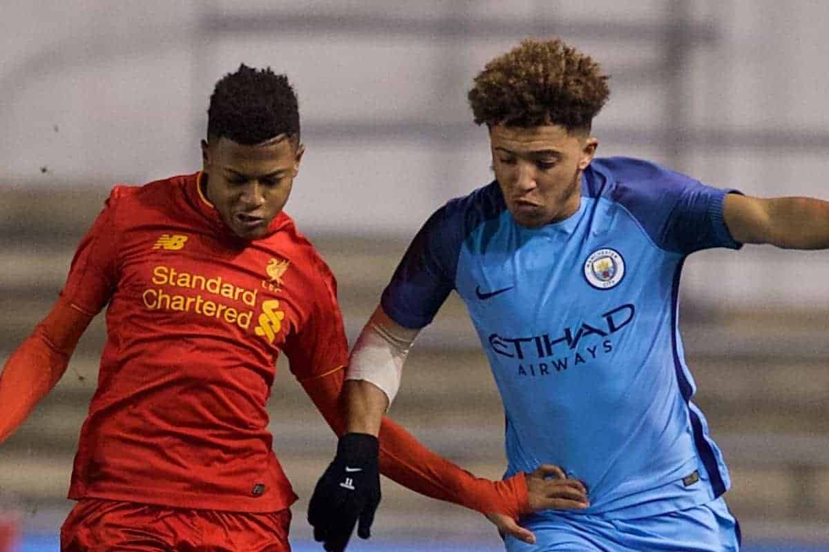 MANCHESTER, ENGLAND - Wednesday, January 18, 2017: Liverpool's Rhian Brewster in action against Manchester City's Jadon Sancho during the FA Youth Cup 4th Round match at the Academy Stadium. (Pic by Gavin Trafford/Propaganda)