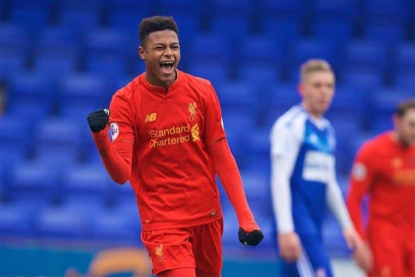 BIRKENHEAD, ENGLAND - Sunday, January 22, 2017: Liverpool's Rhian Brewster celebrates scoring the second goal against Ipswich Town during the FA Premier League Cup match at Prenton Park. (Pic by David Rawcliffe/Propaganda)
