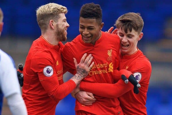 BIRKENHEAD, ENGLAND - Sunday, January 22, 2017: Liverpool's Rhian Brewster celebrates scoring the second goal against Ipswich Town with team-mates Alberto Moreno [L] and Ben Woodburn [R] during the FA Premier League Cup match at Prenton Park. (Pic by David Rawcliffe/Propaganda)