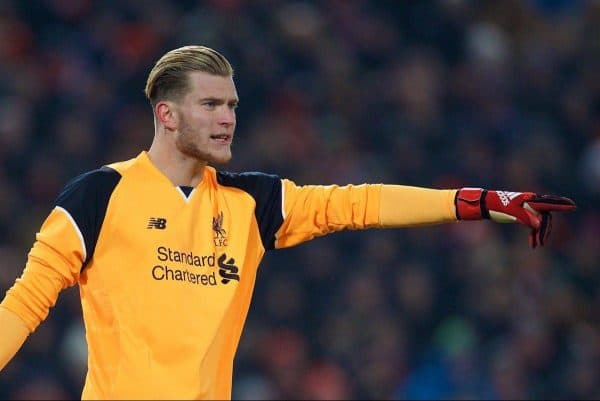 LIVERPOOL, ENGLAND - Wednesday, January 25, 2017: Liverpool's goalkeeper Loris Karius in action against Southampton during the Football League Cup Semi-Final 2nd Leg match at Anfield. (Pic by David Rawcliffe/Propaganda)