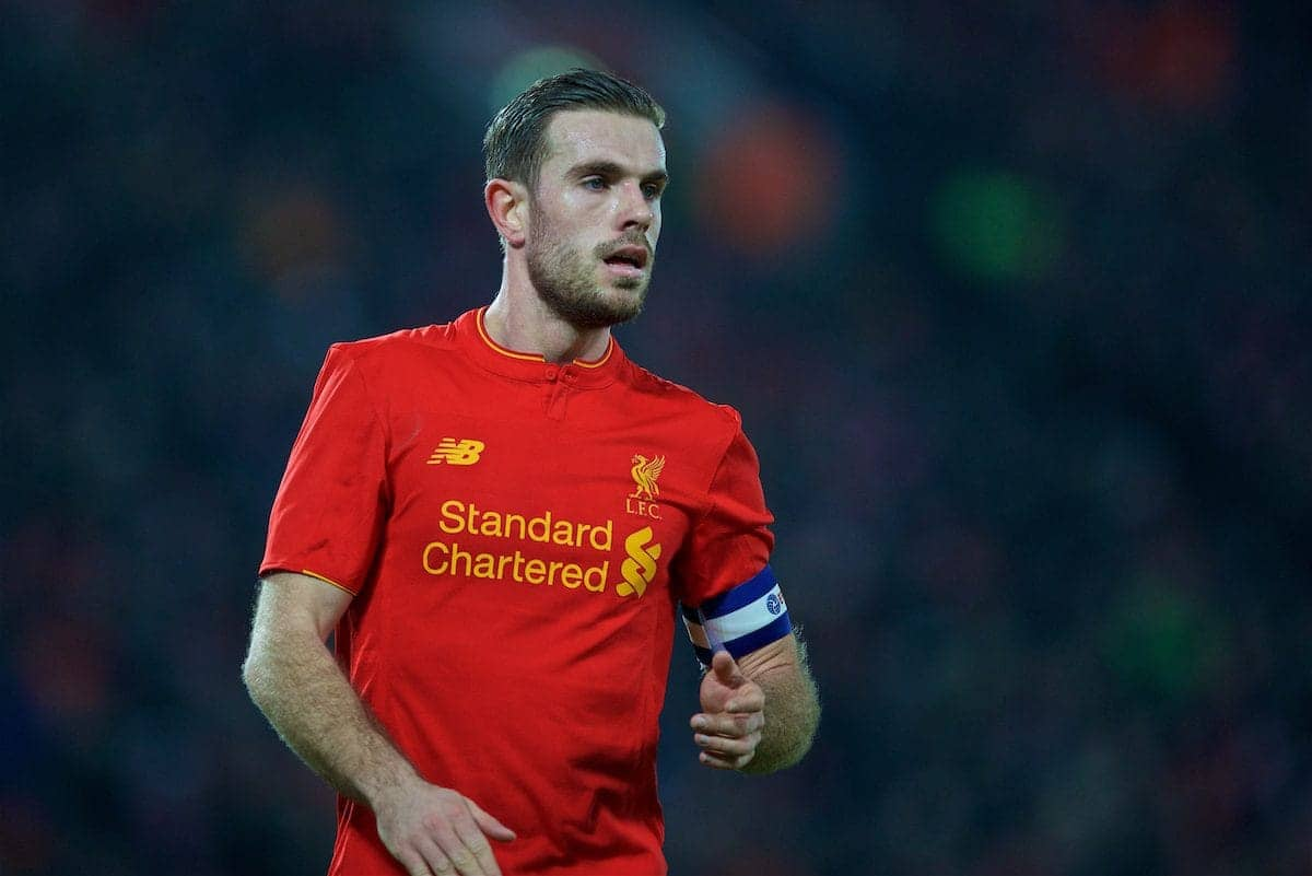 LIVERPOOL, ENGLAND - Wednesday, January 25, 2017: Liverpool's captain Jordan Henderson in action against Southampton during the Football League Cup Semi-Final 2nd Leg match at Anfield. (Pic by David Rawcliffe/Propaganda)