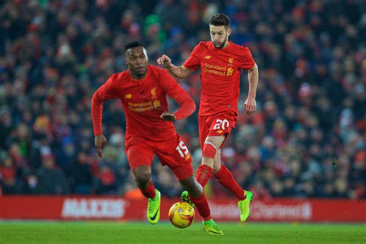 LIVERPOOL, ENGLAND - Wednesday, January 25, 2017: Liverpool's Adam Lallana and Daniel Sturridge in action against Southampton during the Football League Cup Semi-Final 2nd Leg match at Anfield. (Pic by David Rawcliffe/Propaganda)
