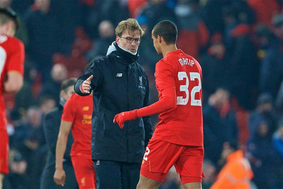 LIVERPOOL, ENGLAND - Wednesday, January 25, 2017: Liverpool's manager Jürgen Klopp and Joel Matip look dejected as Southampton seal a 1-0 victory, 2-0 on aggregate, during the Football League Cup Semi-Final 2nd Leg match at Anfield. (Pic by David Rawcliffe/Propaganda)