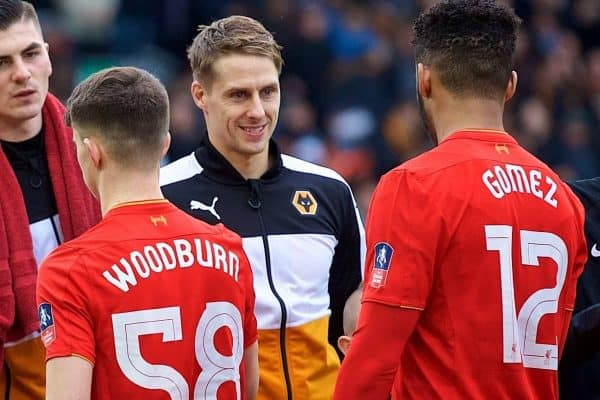 LIVERPOOL, ENGLAND - Saturday, January 28, 2017: Wolverhampton Wanderers' David Edwards shakes hands with Wales compatriot Liverpool's Ben Woodburn before the FA Cup 4th Round match at Anfield. (Pic by David Rawcliffe/Propaganda)
