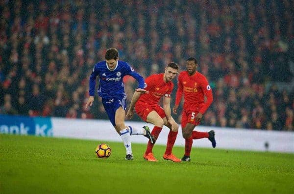 LIVERPOOL, ENGLAND - Tuesday, January 31, 2017: Liverpool's captain Jordan Henderson in action against Chelsea's Marcos Alonso during the FA Premier League match at Anfield. (Pic by David Rawcliffe/Propaganda)