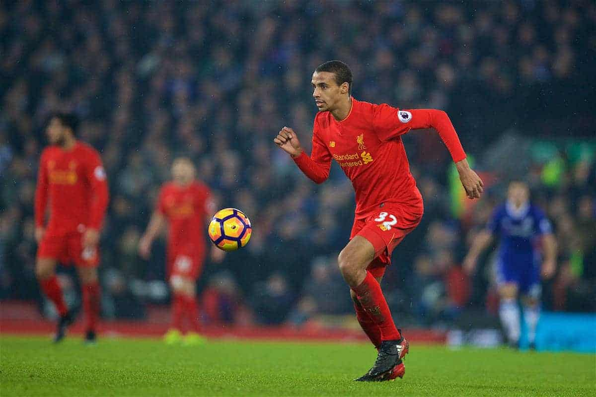LIVERPOOL, ENGLAND - Tuesday, January 31, 2017: Liverpool's Joel Matip in action against Chelsea during the FA Premier League match at Anfield. (Pic by David Rawcliffe/Propaganda)
