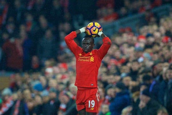 LIVERPOOL, ENGLAND - Tuesday, January 31, 2017: Liverpool's Sadio Mane in action against Chelsea during the FA Premier League match at Anfield. (Pic by David Rawcliffe/Propaganda)