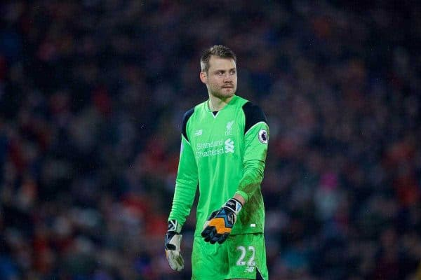 LIVERPOOL, ENGLAND - Tuesday, January 31, 2017: Liverpool's goalkeeper Simon Mignolet in action against Chelsea during the FA Premier League match at Anfield. (Pic by David Rawcliffe/Propaganda)