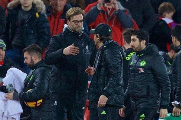 LIVERPOOL, ENGLAND - Tuesday, January 31, 2017: Liverpool's manager Jürgen Klopp embraces Chelsea's manager Antonio Conte after the 1-1 draw during the FA Premier League match at Anfield. (Pic by David Rawcliffe/Propaganda)