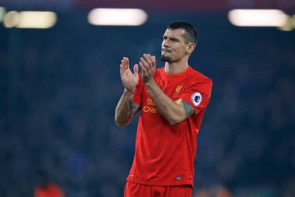 LIVERPOOL, ENGLAND - Tuesday, January 31, 2017: Liverpool's Dejan Lovren applauds the supporters after a 1-1 draw with Chelsea during the FA Premier League match at Anfield. (Pic by David Rawcliffe/Propaganda)