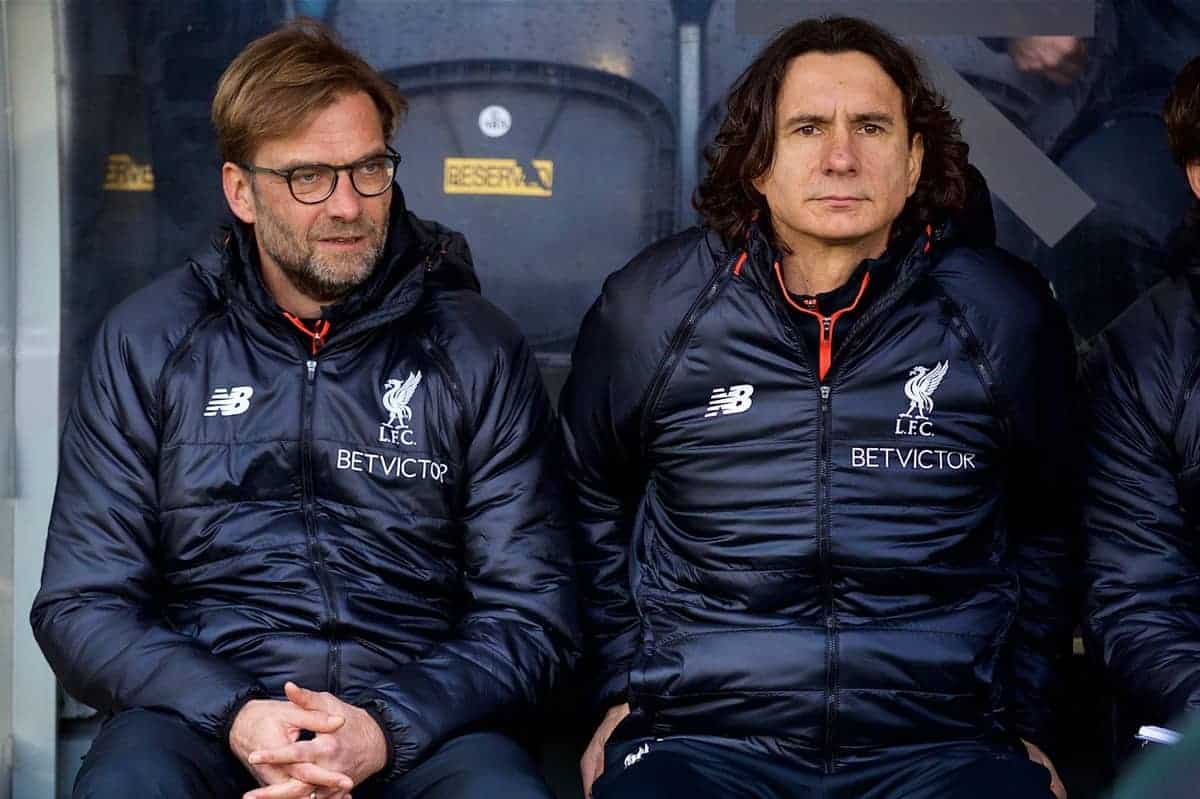 KINGSTON-UPON-HULL, ENGLAND - Saturday, February 4, 2017: Liverpool's manager Jürgen Klopp with assistant manager Zeljko Buvac and first team coach Peter Krawietz before the FA Premier League match against Hull City at the KCOM Stadium. (Pic by David Rawcliffe/Propaganda)