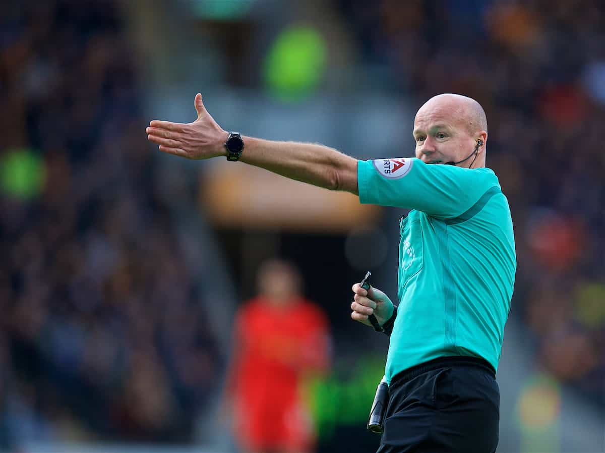 KINGSTON-UPON-HULL, ENGLAND - Saturday, February 4, 2017: Referee Lee Mason during the FA Premier League match between Hull City and Liverpool at the KCOM Stadium. (Pic by David Rawcliffe/Propaganda)