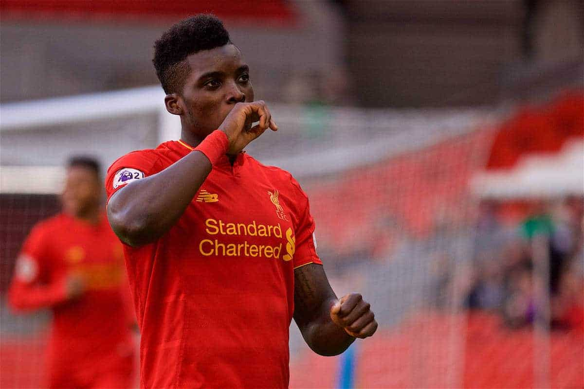 LIVERPOOL, ENGLAND - Sunday, February 5, 2017: Liverpool's Sheyi Ojo celebrates scoring the second goal against Tottenham Hotspur to equalise at 2-2 during FA Premier League 2 Division 1 Under-23 match at Anfield. (Pic by David Rawcliffe/Propaganda)