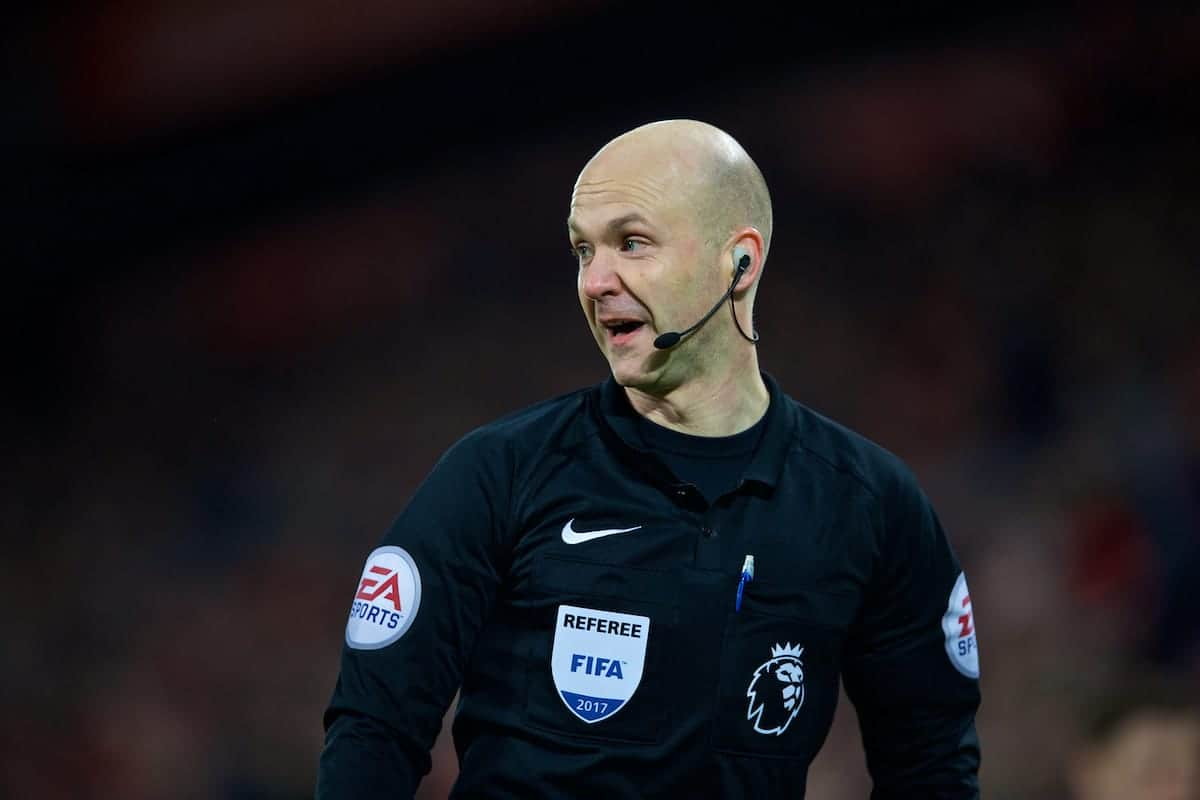 LIVERPOOL, ENGLAND - Saturday, February 11, 2017: Referee Anthony Taylor during the FA Premier League match between Liverpool and Tottenham Hotspur at Anfield. (Pic by David Rawcliffe/Propaganda)