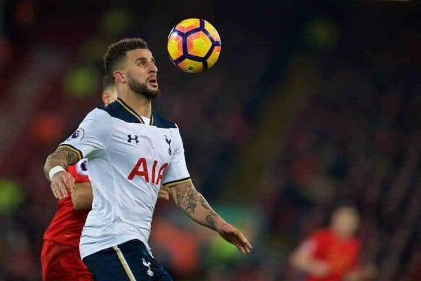 LIVERPOOL, ENGLAND - Saturday, February 11, 2017: Tottenham Hotspur's Kyle Walker in action against Liverpool during the FA Premier League match at Anfield. (Pic by David Rawcliffe/Propaganda)
