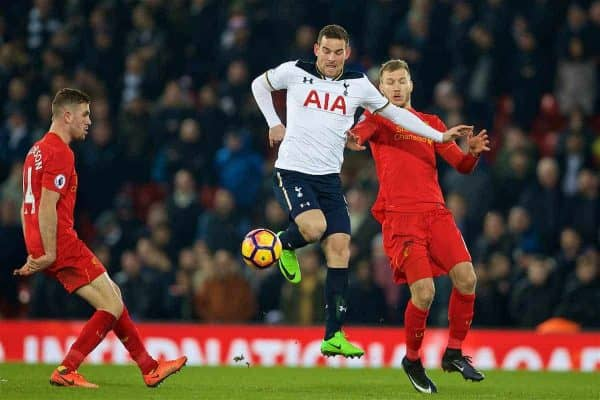 LIVERPOOL, ENGLAND - Saturday, February 11, 2017: Liverpool's Ragnar Klavan in action against Tottenham Hotspur's Vincent Janssen during the FA Premier League match at Anfield. (Pic by David Rawcliffe/Propaganda)
