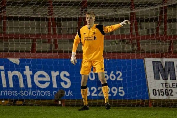 KIDDERMINSTER, ENGLAND - Tuesday, February 28, 2017: Liverpool's goalkeeper Caoimhin Kelleher in action against West Bromwich Albion during the FA Premier League Cup Group G match at Aggborough Stadium. (Pic by David Rawcliffe/Propaganda)