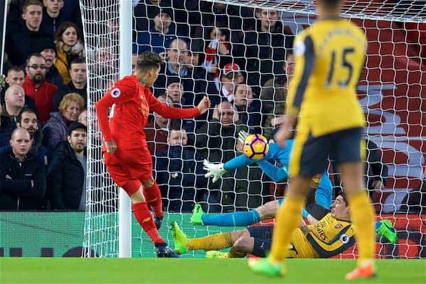 LIVERPOOL, ENGLAND - Saturday, March 4, 2017: Liverpool's Roberto Firmino scores the first goal against Arsenal during the FA Premier League match at Anfield. (Pic by David Rawcliffe/Propaganda)