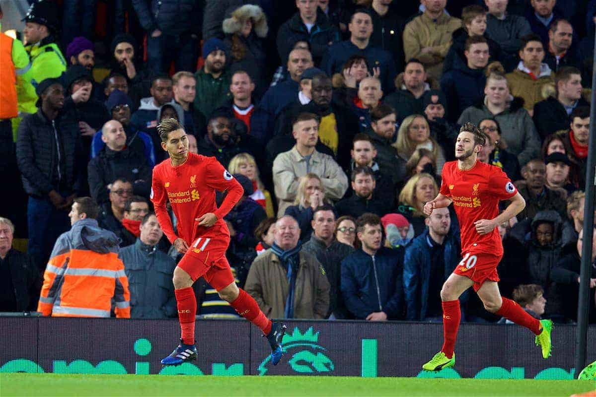 LIVERPOOL, ENGLAND - Saturday, March 4, 2017: Liverpool's Roberto Firmino Celebrates scoring the first goal against Arsenal during the FA Premier League match at Anfield. (Pic by David Rawcliffe/Propaganda)