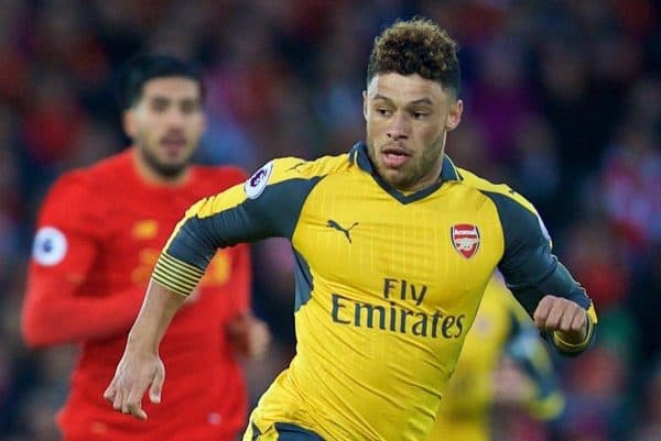 LIVERPOOL, ENGLAND - Saturday, March 4, 2017: Arsenal's Alex Oxlade-Chamberlain in action against Liverpool during the FA Premier League match at Anfield. (Pic by David Rawcliffe/Propaganda)