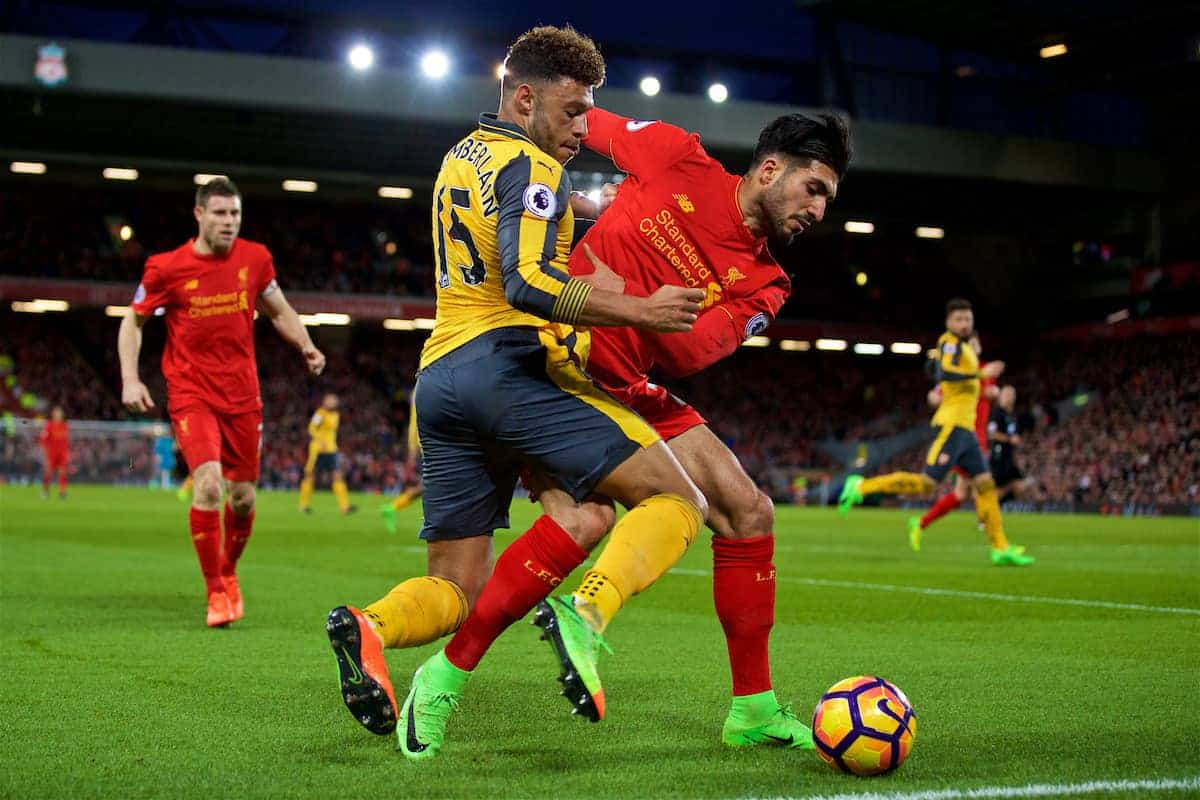LIVERPOOL, ENGLAND - Saturday, March 4, 2017: Liverpool's Emre Can in action against Arsenal's Alex Oxlade-Chamberlain during the FA Premier League match at Anfield. (Pic by David Rawcliffe/Propaganda)
