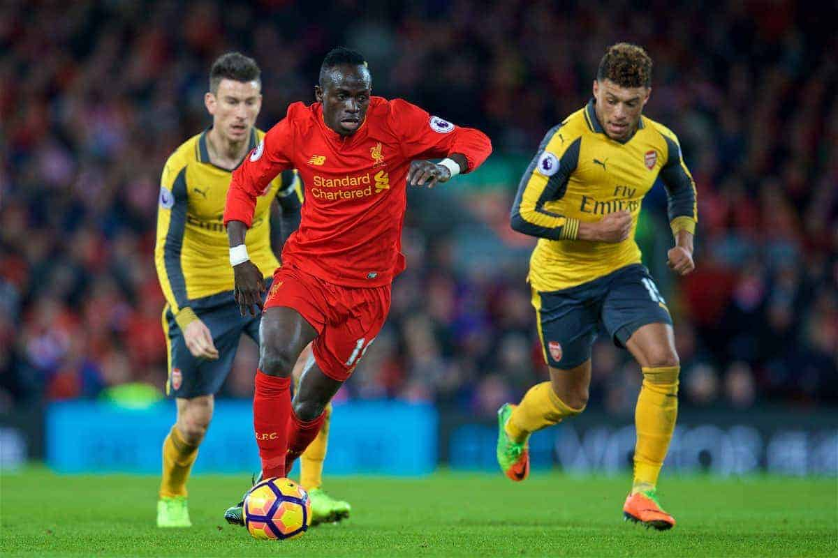 LIVERPOOL, ENGLAND - Saturday, March 4, 2017: Liverpool's Sadio Mane in action against Arsenal during the FA Premier League match at Anfield. (Pic by David Rawcliffe/Propaganda)