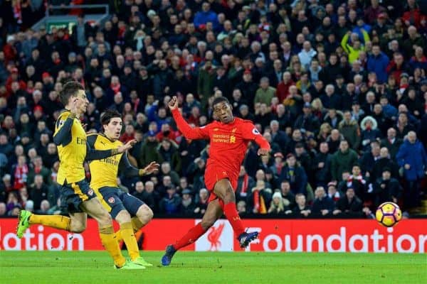 LIVERPOOL, ENGLAND - Saturday, March 4, 2017: Liverpool's Georginio Wijnaldum scores the third goal against Arsenal during the FA Premier League match at Anfield. (Pic by David Rawcliffe/Propaganda)