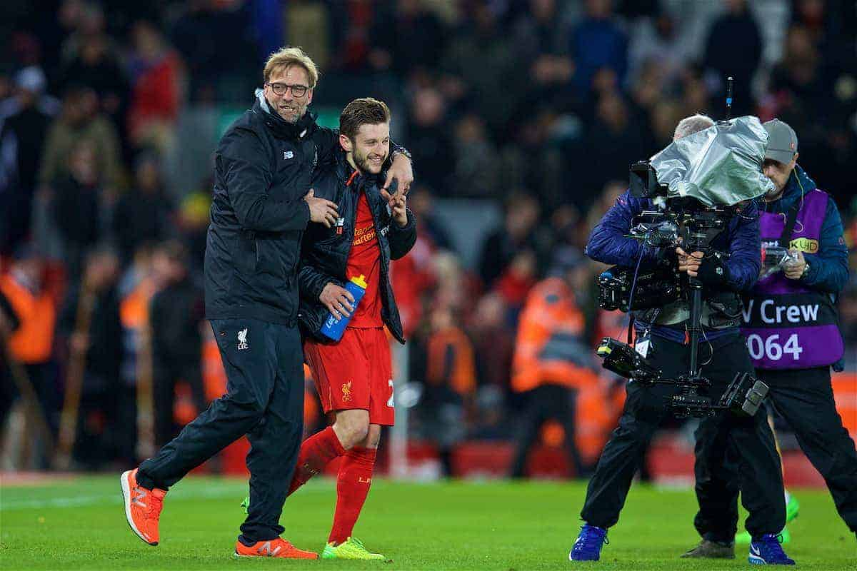 LIVERPOOL, ENGLAND - Saturday, March 4, 2017: Liverpool's manager Jürgen Klopp celebrates the 3-1 victory with Adam Lallana after the FA Premier League match against Arsenal at Anfield. (Pic by David Rawcliffe/Propaganda)