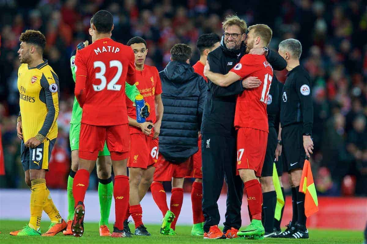 LIVERPOOL, ENGLAND - Saturday, March 4, 2017: Liverpool's manager Jürgen Klopp celebrates the 3-1 victory with Ragnar Klavan after the FA Premier League match against Arsenal at Anfield. (Pic by David Rawcliffe/Propaganda)