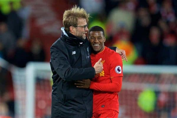 LIVERPOOL, ENGLAND - Saturday, March 4, 2017: Liverpool's manager Jürgen Klopp celebrates the 3-1 victory with Georginio Wijnaldum after the FA Premier League match against Arsenal at Anfield. (Pic by David Rawcliffe/Propaganda)