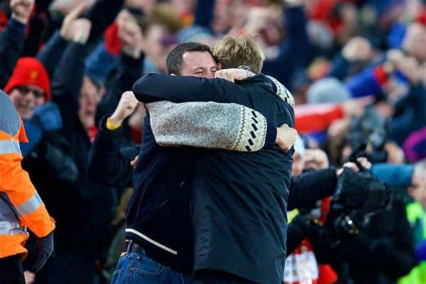 LIVERPOOL, ENGLAND - Saturday, March 4, 2017: Liverpool's manager Jürgen Klopp celebrates with a supporter as his side score the third goal in a 3-1 victory over Arsenal during the FA Premier League match at Anfield. (Pic by David Rawcliffe/Propaganda)
