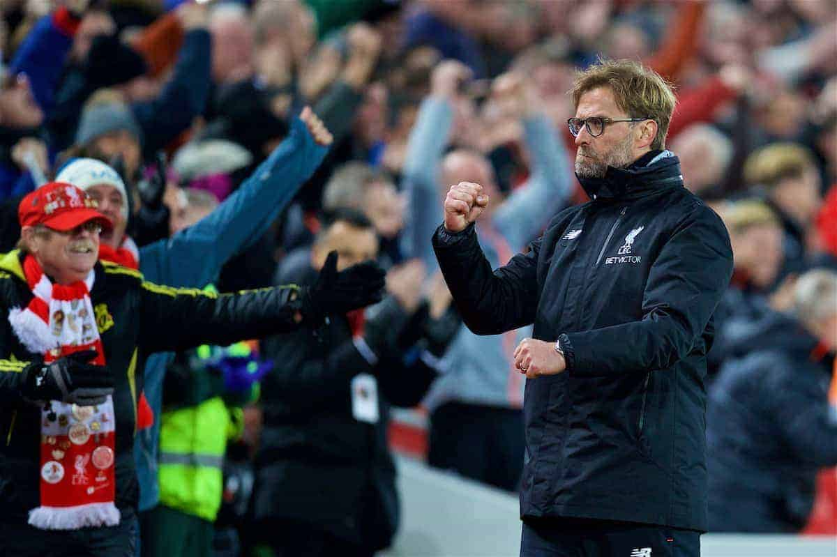 LIVERPOOL, ENGLAND - Saturday, March 4, 2017: Liverpool's manager Jürgen Klopp celebrates as his side score the third goal in a 3-1 victory over Arsenal during the FA Premier League match at Anfield. (Pic by David Rawcliffe/Propaganda)