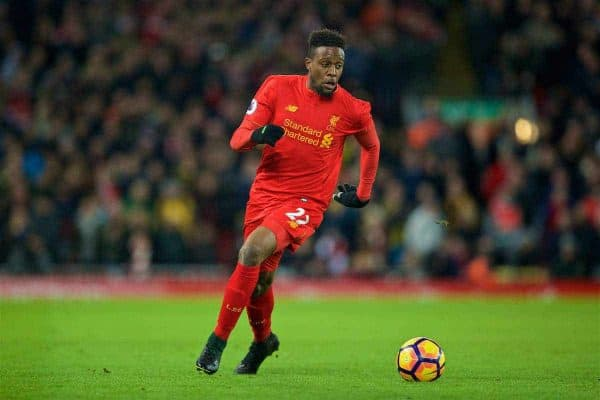 LIVERPOOL, ENGLAND - Saturday, March 4, 2017: Liverpool's Divock Origi in action against Arsenal during the FA Premier League match at Anfield. (Pic by David Rawcliffe/Propaganda)