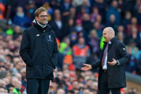 LIVERPOOL, ENGLAND - Sunday, March 12, 2017: Liverpool's manager Jürgen Klopp on the touchline during the FA Premier League match against Burnley at Anfield. (Pic by David Rawcliffe/Propaganda)