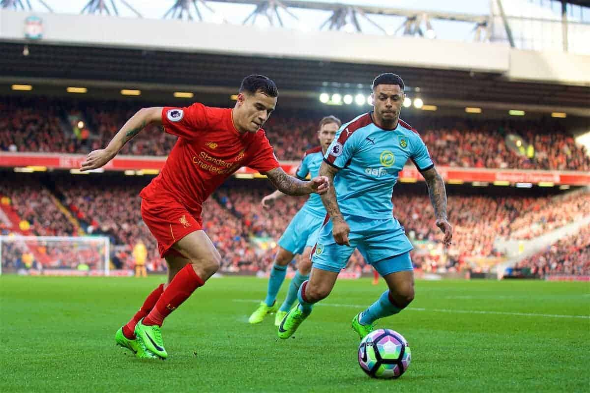 LIVERPOOL, ENGLAND - Sunday, March 12, 2017: Liverpool's Philippe Coutinho Correia in action against Burnley's Andre Gray during the FA Premier League match at Anfield. (Pic by David Rawcliffe/Propaganda)