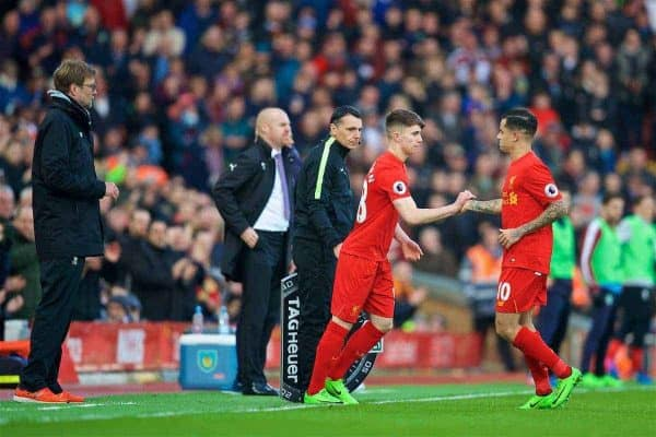 LIVERPOOL, ENGLAND - Sunday, March 12, 2017: Liverpool substitute Ben Woodburn replaces Philippe Coutinho Correia against Burnley during the FA Premier League match at Anfield. (Pic by David Rawcliffe/Propaganda)