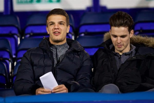 BIRKENHEAD, ENGLAND - Monday, March 13, 2017: Liverpool's Tom Brewitt watches from the stands as the Reds take on Chelsea during the Under-23 FA Premier League 2 Division 1 match at Prenton Park. (Pic by David Rawcliffe/Propaganda)
