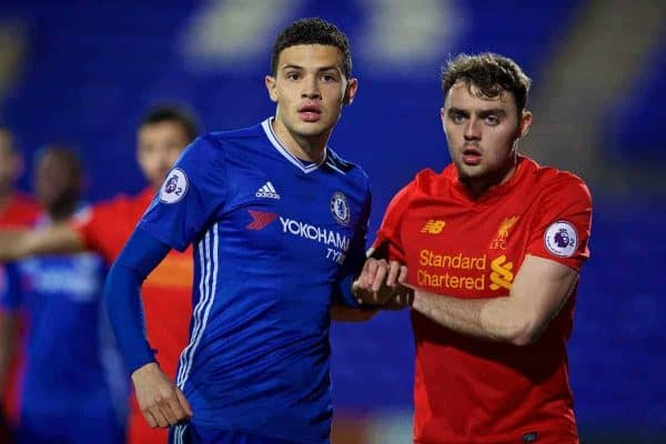 BIRKENHEAD, ENGLAND - Monday, March 13, 2017: Liverpool's Connor Randall and Chelsea's Isaac Christie-Davies during the Under-23 FA Premier League 2 Division 1 match at Prenton Park. (Pic by David Rawcliffe/Propaganda)