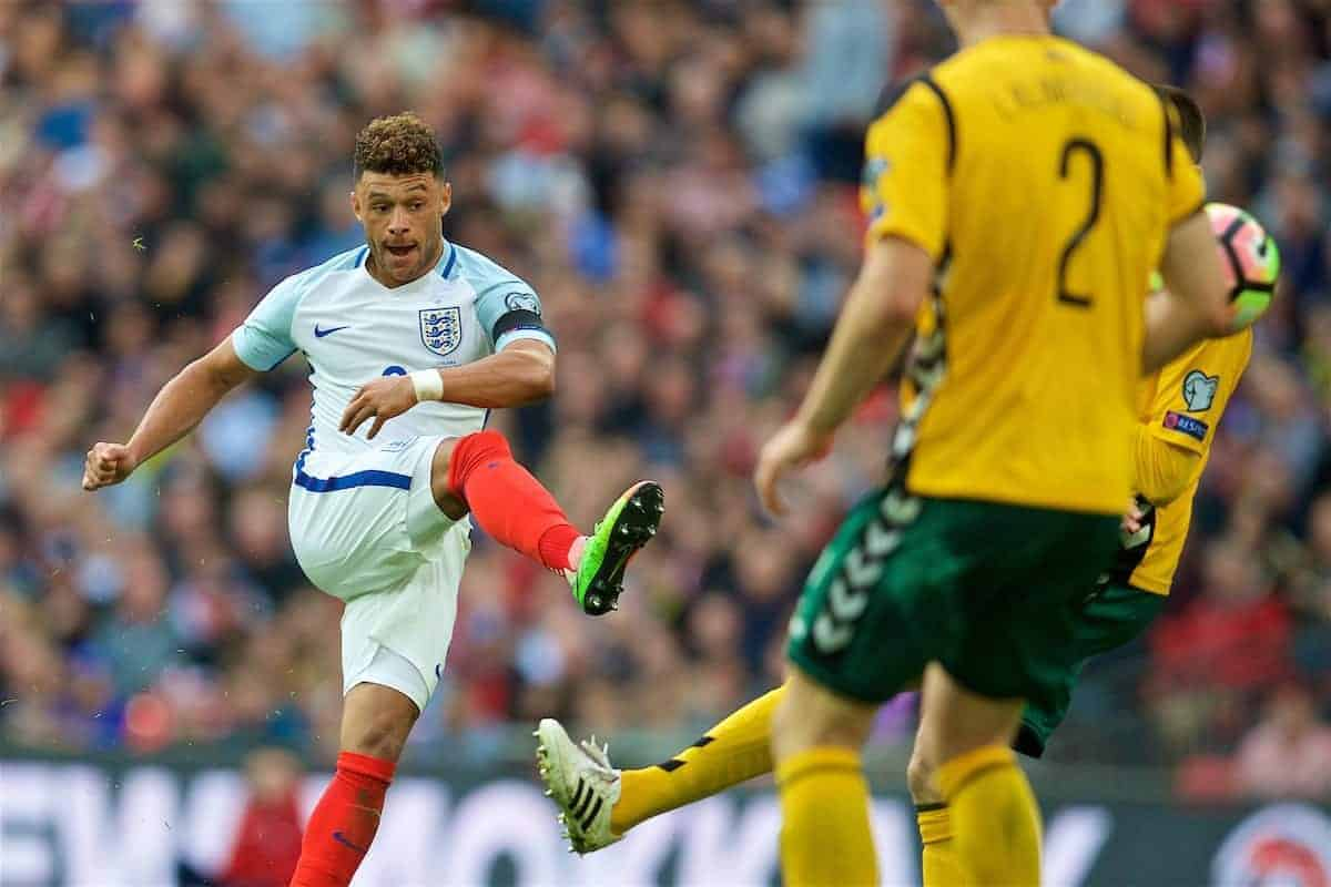 LONDON, ENGLAND - Sunday, March 26, 2017: England's Alex Oxlade-Chamberlain in action against Lithuania during the 2018 FIFA World Cup Qualifying Group F match at Wembley Stadium. (Pic by David Rawcliffe/Propaganda)