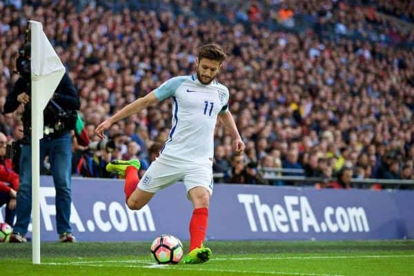 LONDON, ENGLAND - Sunday, March 26, 2017: England's Adam Lallana in action against Lithuania during the 2018 FIFA World Cup Qualifying Group F match at Wembley Stadium. (Pic by David Rawcliffe/Propaganda)