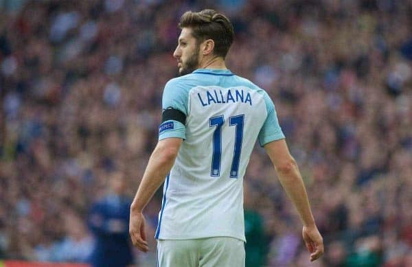LONDON, ENGLAND - Sunday, March 26, 2017: England's Adam Lallana in action against Lithuania during the 2018 FIFA World Cup Qualifying Group F match at Wembley Stadium. (Pic by Lexie Lin/Propaganda)