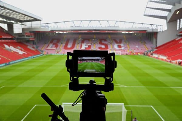 "LIVERPOOL, ENGLAND - Saturday, April 1, 2017: Liverpool supporters' mosaic tribute to Ronnie Moran ""Bugsy"" on the Spion Kop shown on a television monitor before the FA Premier League match, the 228th Merseyside Derby, against Everton at Anfield. (Pic by David Rawcliffe/Propaganda)"