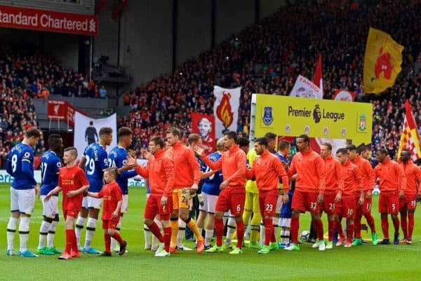 Liverpool and Everton players shake hands before the FA Premier League match, the 228th Merseyside Derby, at Anfield. (Pic by David Rawcliffe/Propaganda)