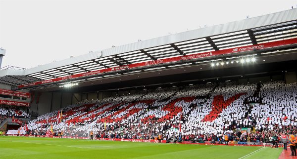 "LIVERPOOL, ENGLAND - Saturday, April 1, 2017: Liverpool supporters' mosaic tribute to Ronnie Moran ""Bugsy"" on the Spion Kop before the FA Premier League match, the 228th Merseyside Derby, against Everton at Anfield. (Pic by David Rawcliffe/Propaganda)"
