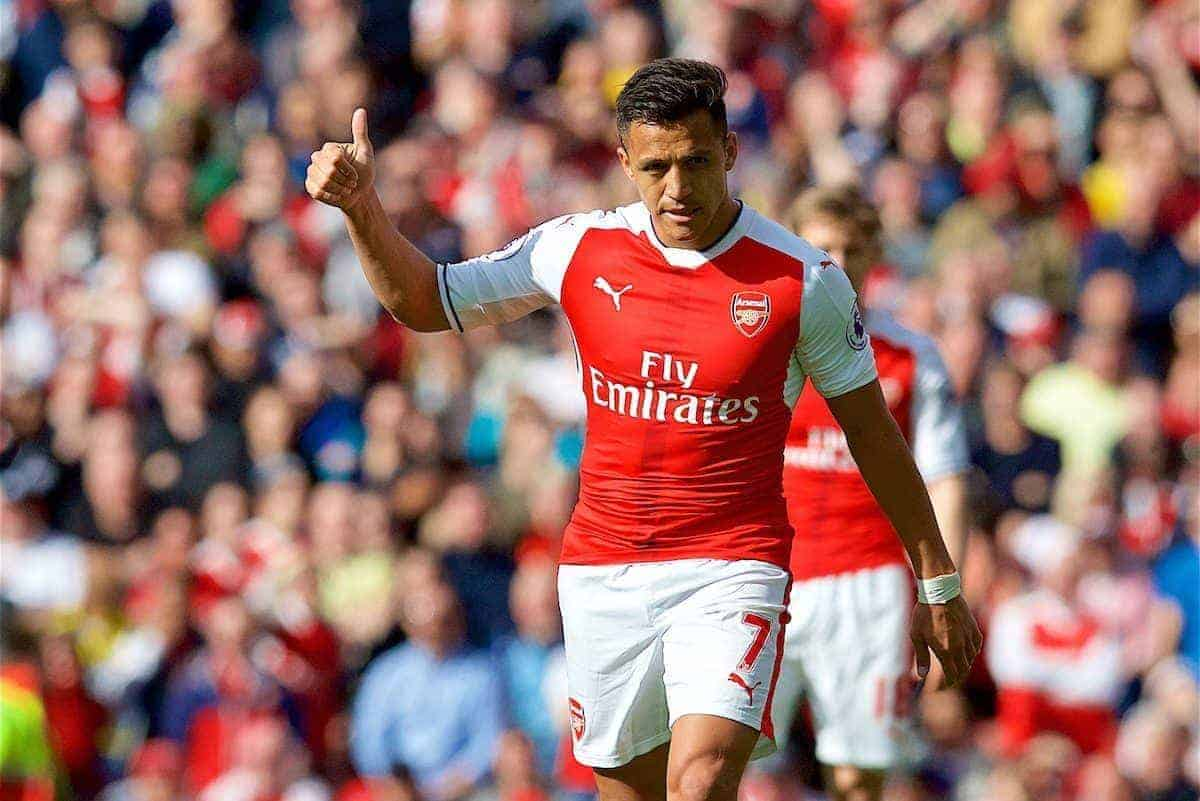 LONDON, ENGLAND - Sunday, April 2, 2017: Arsenal's Alexis Sanchez in action against Manchester City during the FA Premier League match at the Emirates Stadium. (Pic by David Rawcliffe/Propaganda)