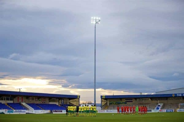 CHESTER, ENGLAND - Monday, April 3, 2017: Liverpool and Norwich City players stand for a minute's applause to remember former Liverpool player and coach Ronnie Moran before the Under-23 Premier League Cup Quarter-Final match at the Deva Stadium. (Pic by David Rawcliffe/Propaganda)