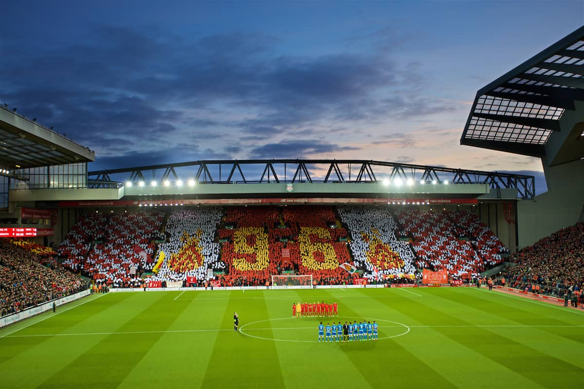 LIVERPOOL, ENGLAND - Wednesday, April 5, 2017: Liverpool supporters stand for a minute's applause to remember the victims of the Hillsborough Stadium Disaster, with the Spion Kop forming a 96 mosaic, before the FA Premier League match at Anfield. (Pic by David Rawcliffe/Propaganda)