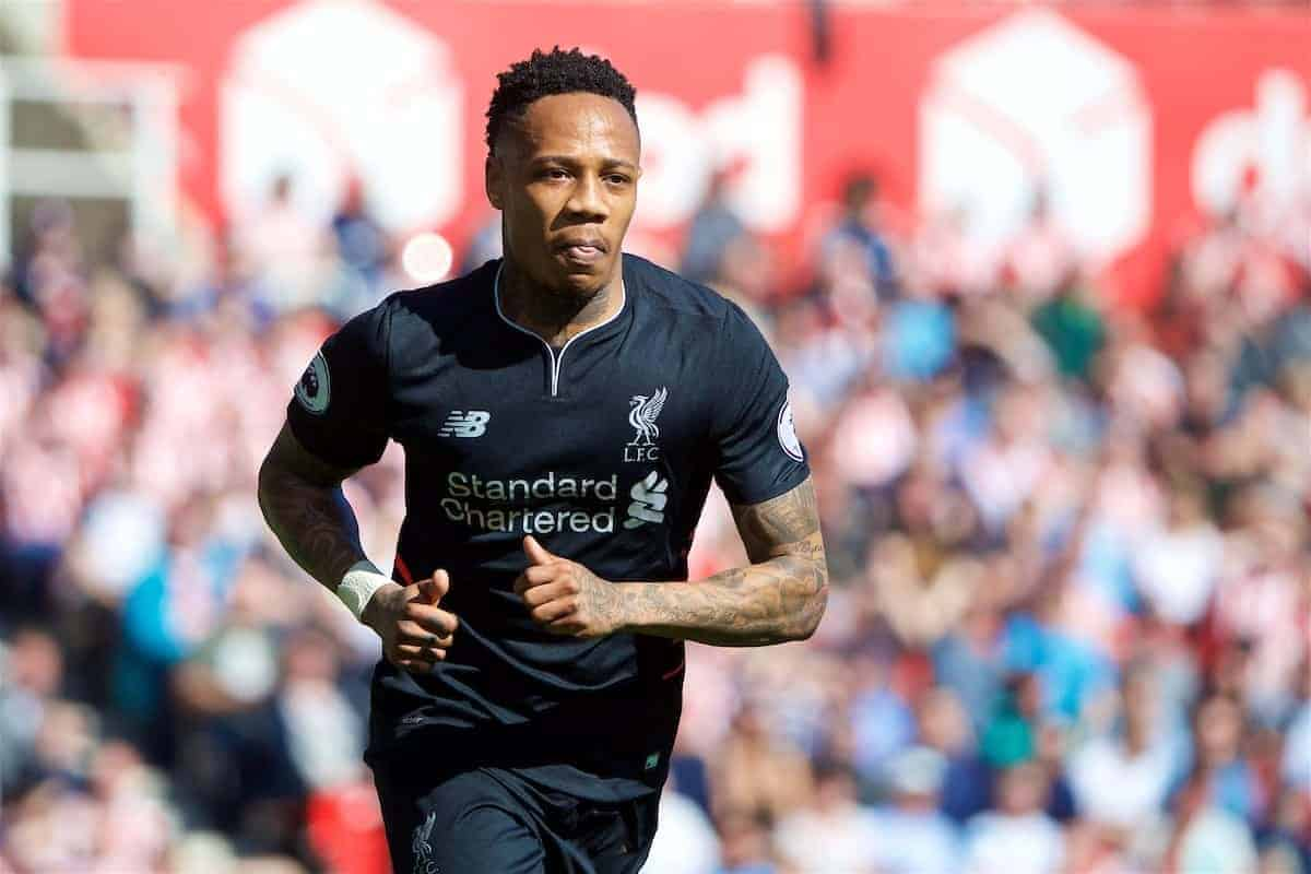 STOKE-ON-TRENT, ENGLAND - Saturday, April 8, 2017: Liverpool's Nathaniel Clyne in action against Stoke City during the FA Premier League match at the Bet365 Stadium. (Pic by David Rawcliffe/Propaganda)